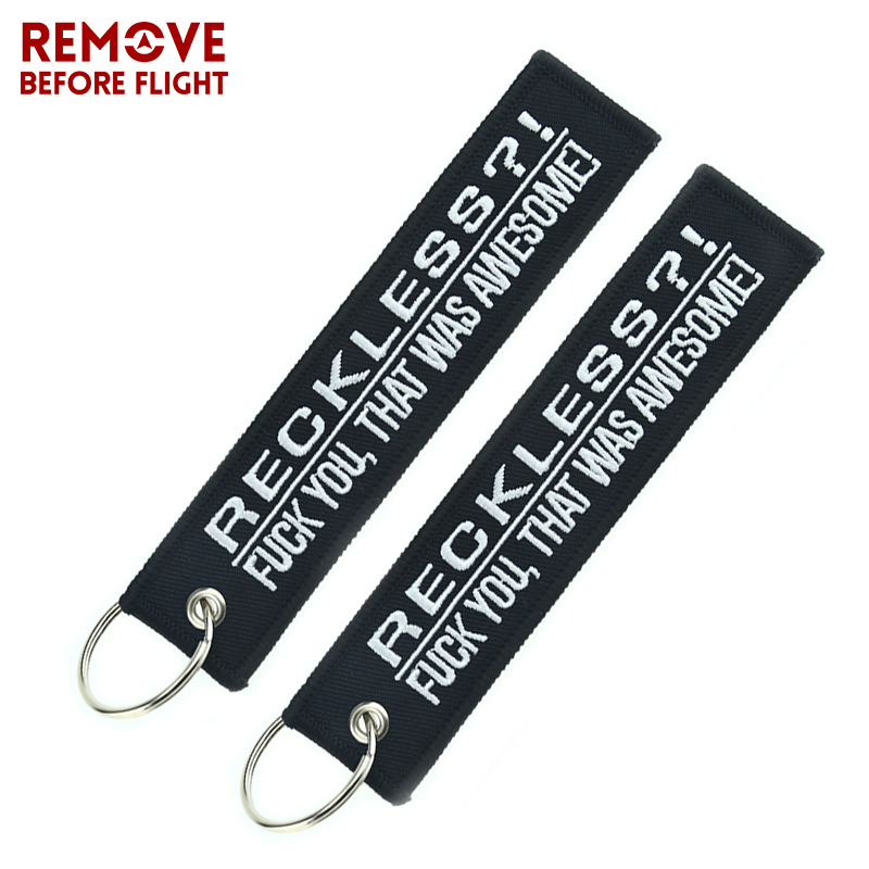 3PCS llavero Moto Car Key Ring Embroidery Key Tag Reckless Keychain Holder Motorcycles Motor Keyring Men Accessory and Parts in Key Rings from Automobiles Motorcycles