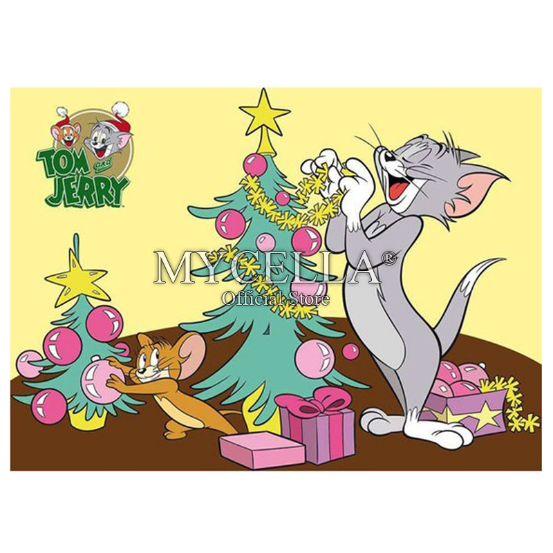 Tom And Jerry Christmas Tree: 5D DIY Full Square Cartoon Tom And Jerry Diamond Painting