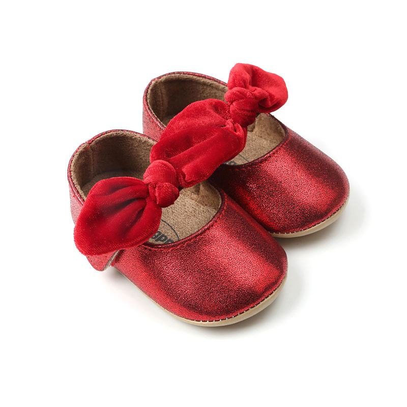 Red PU Baby Shoes 2020 Infant First Walkers Bow Soft Soled Newborn Bebe Girls Sneaker Prewalker Baby Moccasins