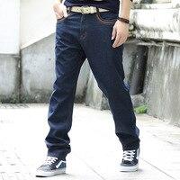 2017 New Men Jeans Business Casual Winter Plus Velvet Straight Loose Blue Jeans Denim Pants Trousers Classic Cowboys Man Jeans