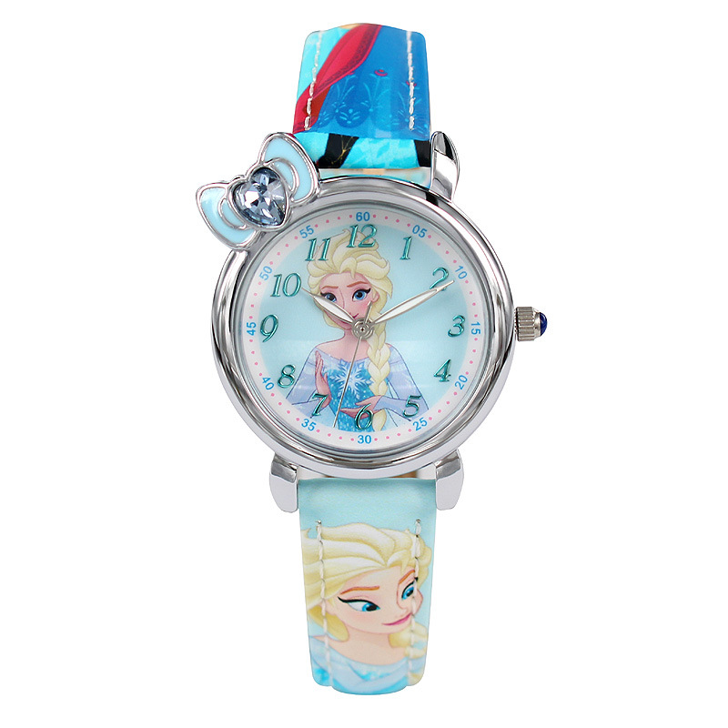 Childrens Watches Disney Brand Children Girl Watches Cartoon Frozen Students Girls Clocks Waterproof Leather Quartz Wristwatch Children's Watches