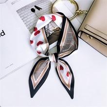 New Hot Bag Scarf Geometric Print Women Silk Head Band Small Skinny Ribbon Female Headband Fashion Neck Tie Long Scarves