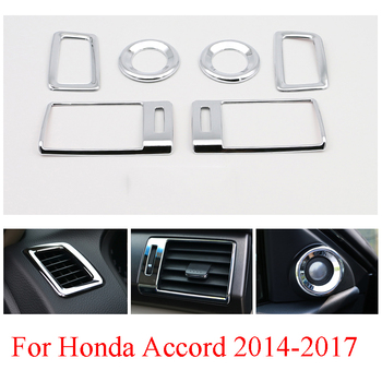 For Honda Accord 2014 2015 2016 2017 Side Door Air Conditional AC Vent Cover Decoration Box Outlet ABS Chrome Inner Car Parts