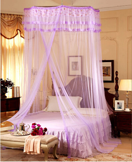 Purple Decorative Bed Mosquito Net Canopy For Single Double King Queen Size