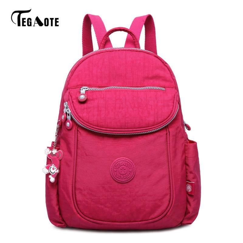 TEGAOTE fashion designer brand nylon women backpack casual school bag for teenager girls tegaote new design women backpack bags fashion mini bag with monkey chain nylon school bag for teenage girls women shoulder bags