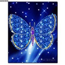 DIY 5D Diamond Painting Cross Blue Glitter Butterfly Embroidery Square Full 3D Mosaic Decoration Rhinestones Kit