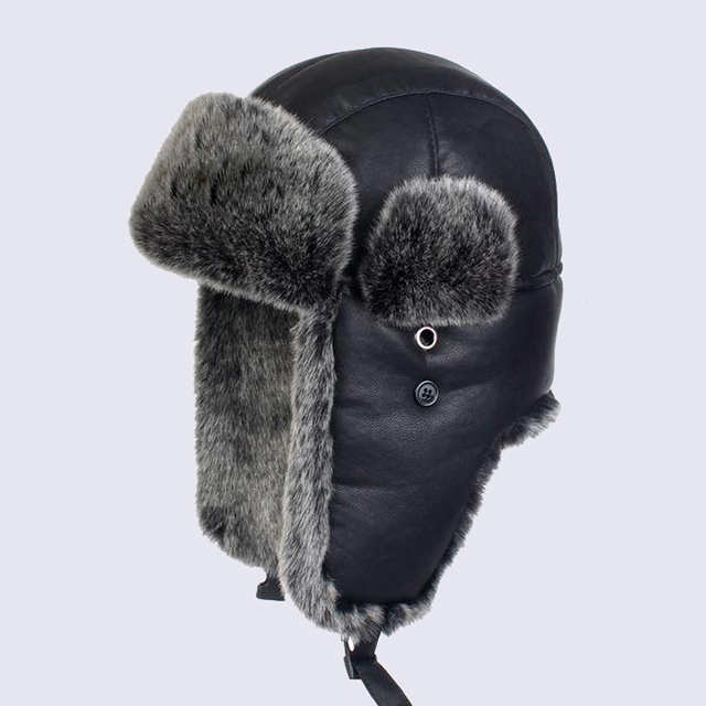 d70da9dd Winter Thicken Russian Ushanka Men BomberTrapper Hats Black PU Leather  Women Faux Fur Snow Cap Warm Earflaps Bomber Caps