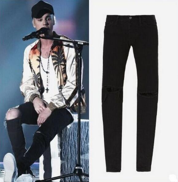 ФОТО High Version Justin Bieber Ripped Denim Jeans Zipped Ankle Skinny Fit Button Fly Jeans Free Shipping