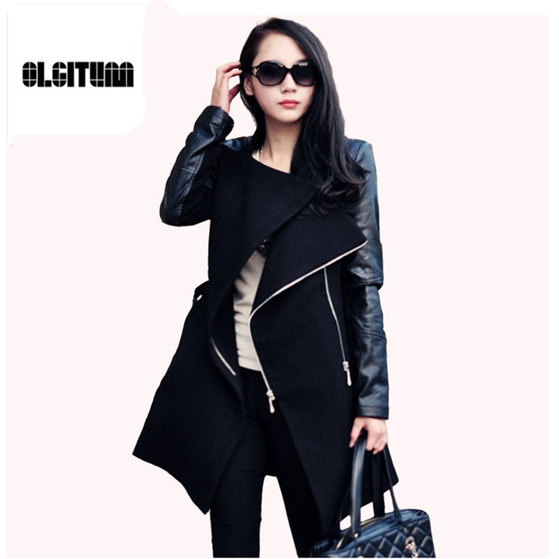 2016 Winter Fall Fashion font b women b font coat Patchwork font b Womens b font