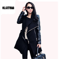 New 2016 Fashion Patchwork Womens Long Warm Wool PU Leather Sleeve Jacket Coat Windbreaker Free