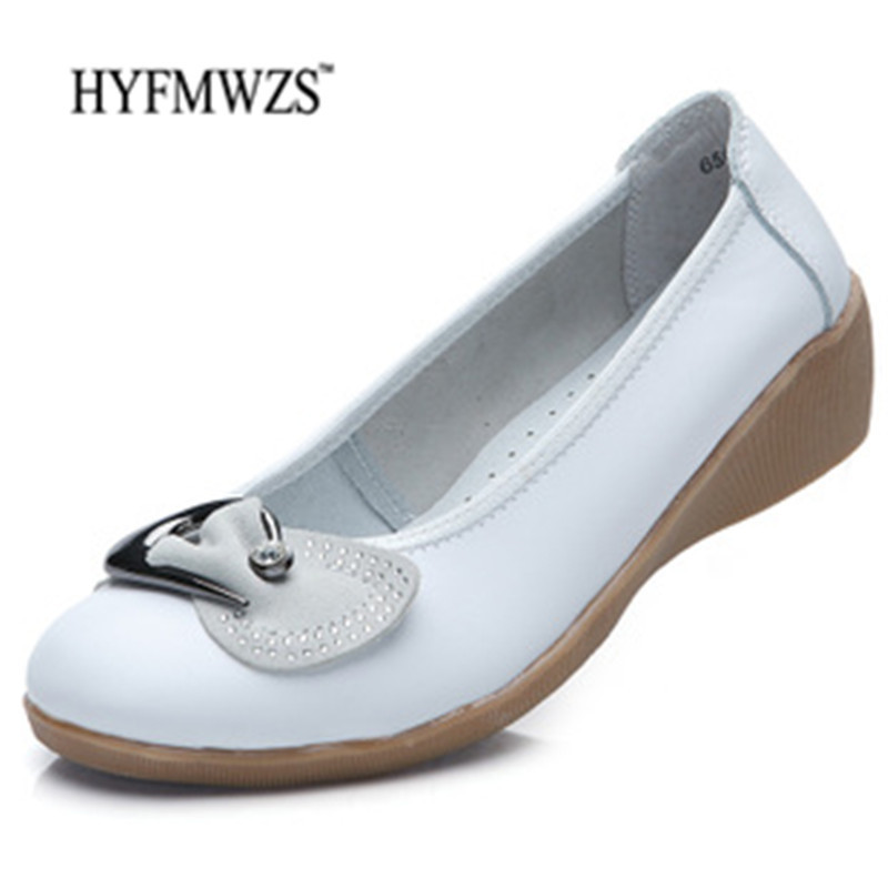 HYFMWZS Women Loafers Soft And Breathable Mother Shoes Spilt Leather Shoes Woman Flat Shoes Women Non-Slip Shoes Flats Ballet hyfmwzs soft and breathable flat shoes women slip on non slip leather shoes woman comfortable lace up ballet flats zapatos mujer