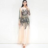 Вышивка женское платье 2018 взлетно посадочной полосы элегантные пикантные Винтаж Вечеринка клуб Boho богемные летние длинные модные сетчатые