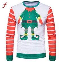 FEITONG T-Shirts For Men Autumn Winter Xmas Christmas Printing Top Men's Long-sleeved shirt Blusa Casual O-Neck Clothing S-XXL