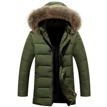 New Fashion 2016 Men's Winter Jacket Mens Cotton Down Jacket Coat Fur Collar Hooded Casual Winter Jackets Parkas Plus Size W153