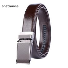 Mens High Quality Genuine Leather Belt-Ratchet Automatic Buckle Men Belt Popular Business Brown Male Belts Luxury 3.0 cm width 2019 mens fashion designer popular belt leather casual luxury business male belts automatic buckle men black brown belt