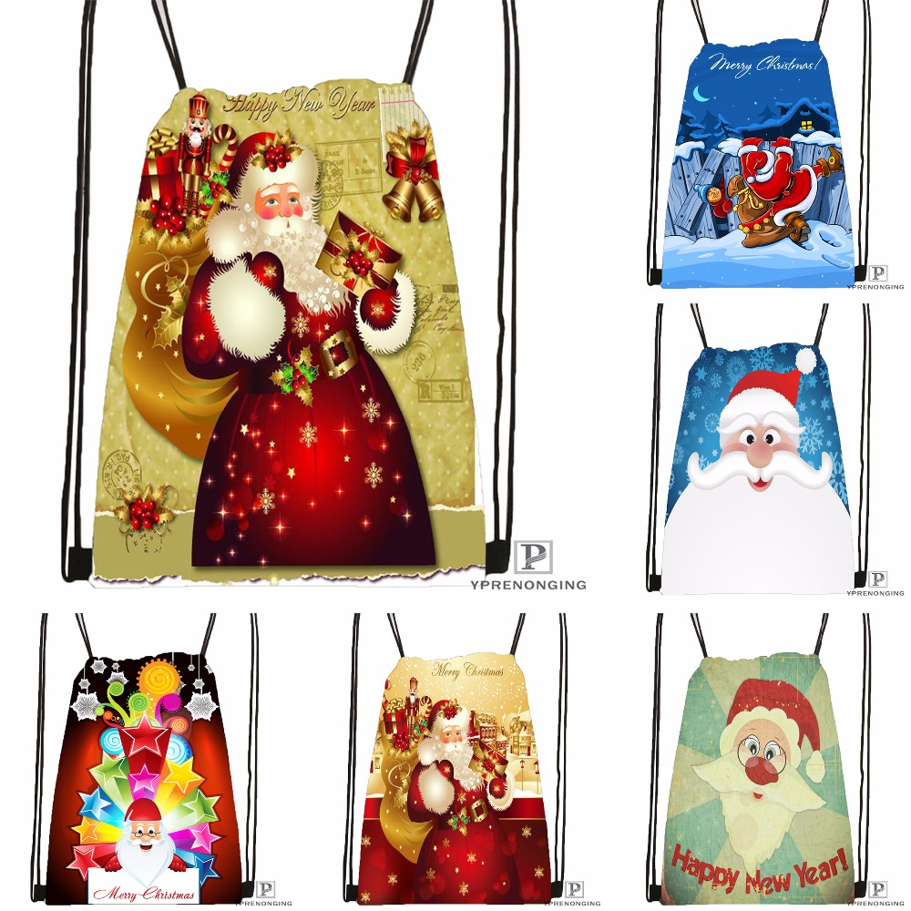 Custom Christmas Gift Santa Drawstring Backpack Bag Cute Daypack Kids Satchel Black Back 31x40cm 180531 02