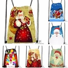 Custom Christmas Gift Santa Drawstring Backpack Bag Cute Daypack Kids Satchel (Black Back) 31x40cm#180531-02-60