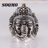 SOQMO Thailand Silver Elephant Ganesha Men's Open Adjustable Ring 925 Sterling Silver India Jewelry Gift for Boyfriend SQM192