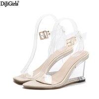 Kristal Ayakkabı Kadın Moda Ayak Bileği Kayışı Yüksek Topuk Sandalet Şeffaf Takozlar Topuk Sandalet 2017 Yaz Gladyatör Sandalet Kadın
