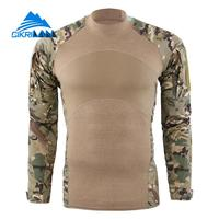 Mens Long Sleeve Army Camo Tactical Combat T shirts Quick Dry Climbing Hiking Outdoor t shirt Men Anti uv Sport Camping T Shirt