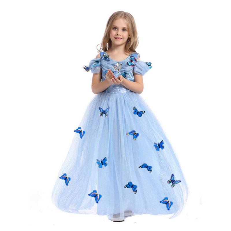 Girls Party Dresses Ruffle Vintage Vestido Elsa Anna Long Dress ...