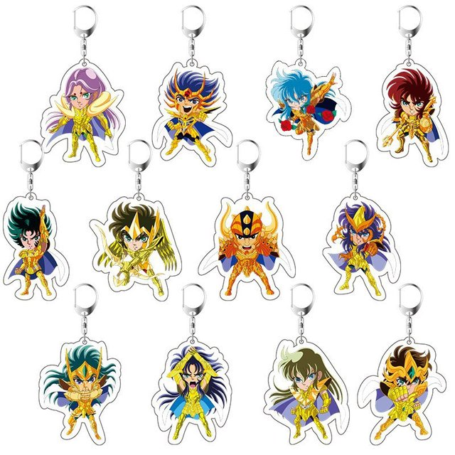 2019 Saint Seiya Keychain Double Sided Key Chain Acrylic Pendant Anime Accessories Cartoon Key Ring Cute Japanese Key Rings