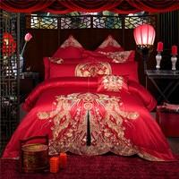 2018 новые красные постельное белье жаккард 9 шт. King Size постельное белье из египетского хлопка постельного белья роскошные свадебные постельн