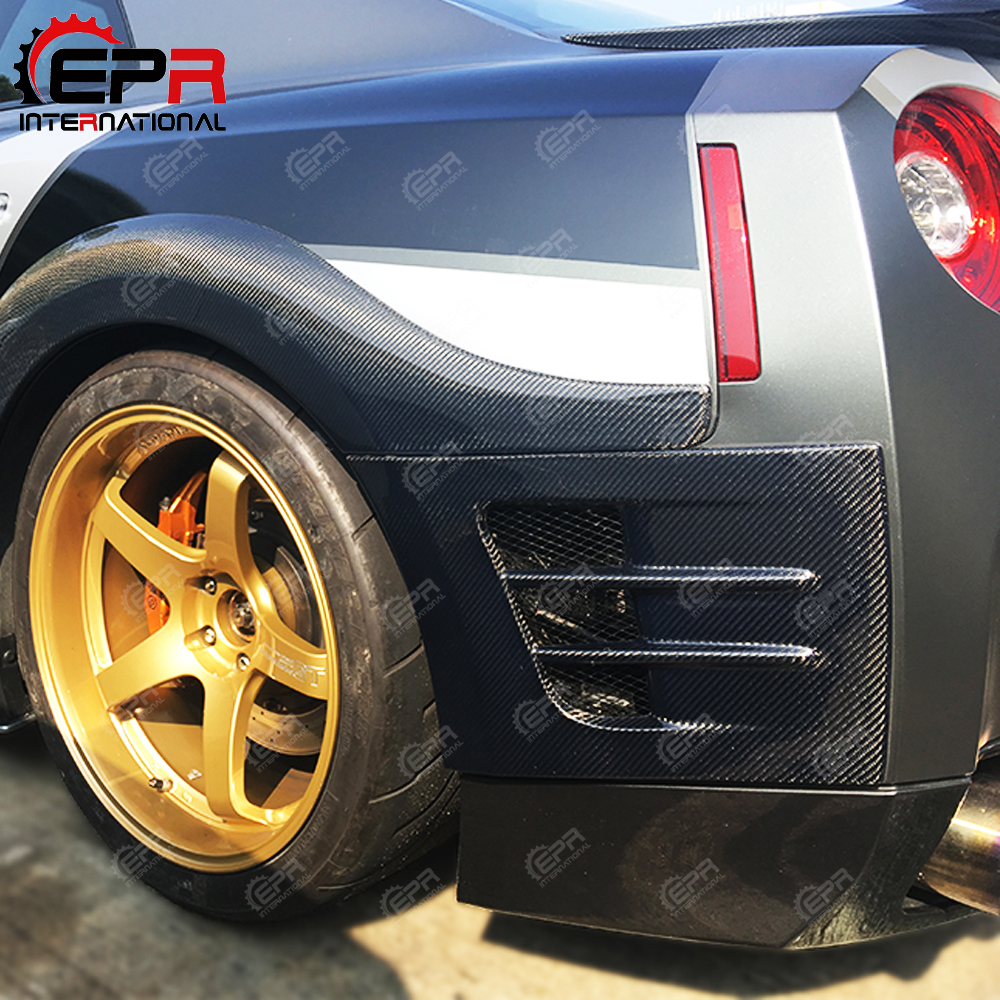 US $219 0  For Nissan R35 GTR TS Style Carbon Fiber Rear Fender Bumper Add  On Glossy Finish GT R Wheel Flare Arch Extension Trim Air Vent-in Body Kits
