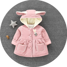 Warm Winter Baby Girls Cute Rabbit Parkas Outerwear Hooded Cotton-Padded Thicken Coat Outerwear Parkas Snow Wear