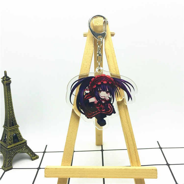 Anime Data UM Live Tokisaki Kurumi Yoshino Yatogami Tohka keychain Acrílico cute divertimento clave Llavero bolsa pingente anneau porte breloki