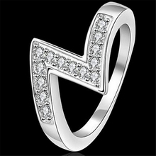 "2017 Fashion Unique Design High Quality Fashion Silver Plated Alloy ""Z""Sharp Rhinestone Ring female Jewelry Women Gift R055"