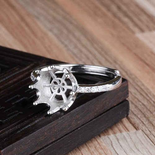 925 Anel de Prata Esterlina 7-10mm Pérola ou Conta Redonda Semi Mount Configuração Anel de Noivado Casamento Jóias Finas cristal