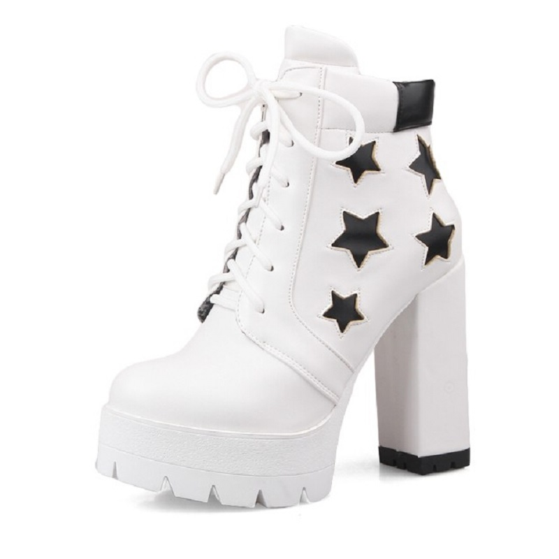 ФОТО 2016 Women Chunky High Heel Ankle Boots Platform Heels For Women Fashion Black Star Lace Up Booties Shoes Plus Size High Quality