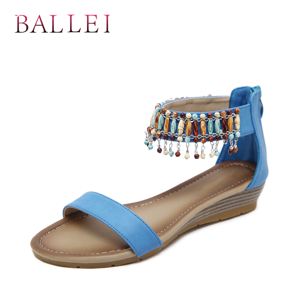 Balle High Quality Woman Sandals Vintage Genuine Leather Comfortable Low Heel Shoes Elegant Lady Ethnic Retro Casual Sandals S71 Low Heels Women's Shoes
