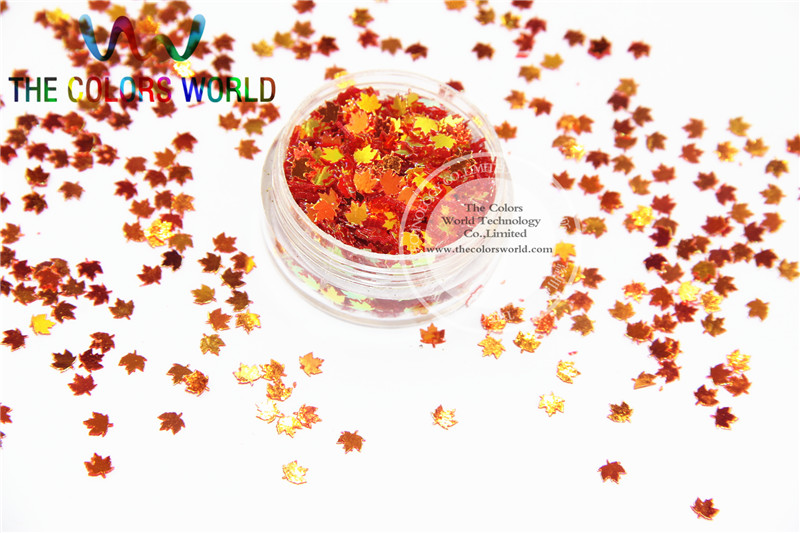 SFYJ714-77 4mm Size Amazing Glitter Sequins Maple leaf shaped sequins  for nail Art or DIY decoration