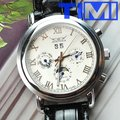 Luxury 6 Hands Automatic Mechanical Leather Mens Watch