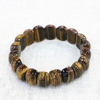 Women Men Manual Bracelet Natural Stone Tiger Eyes Geometry Beads 11x15mm Yellow Strand Bangles Bracelets Jewelry 7.5inch B3274