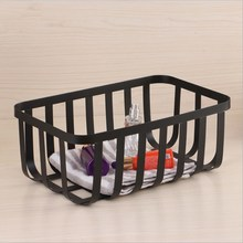 Wrought Iron Wire Storage Basket Home Desk Metal Organizer Holder Bathroom Kitchen Various Containers Cosmetic