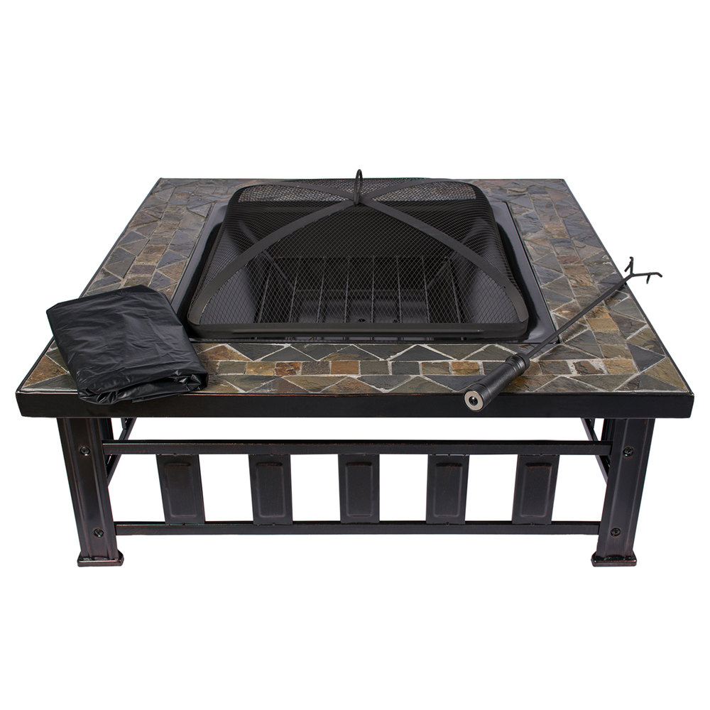 hio 36inch natural slate top outdoor fire pit with spark screen steel wood grate