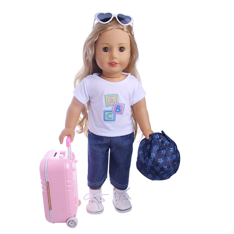 Travel Set Suitcase Pink Suitcase For 18 inch American Girl Doll,our generation of dolls,the best Christmas gift (only Suitcase) american girl doll clothes for 18 inch dolls beautiful toy dresses outfit set fashion dolls clothes doll accessories
