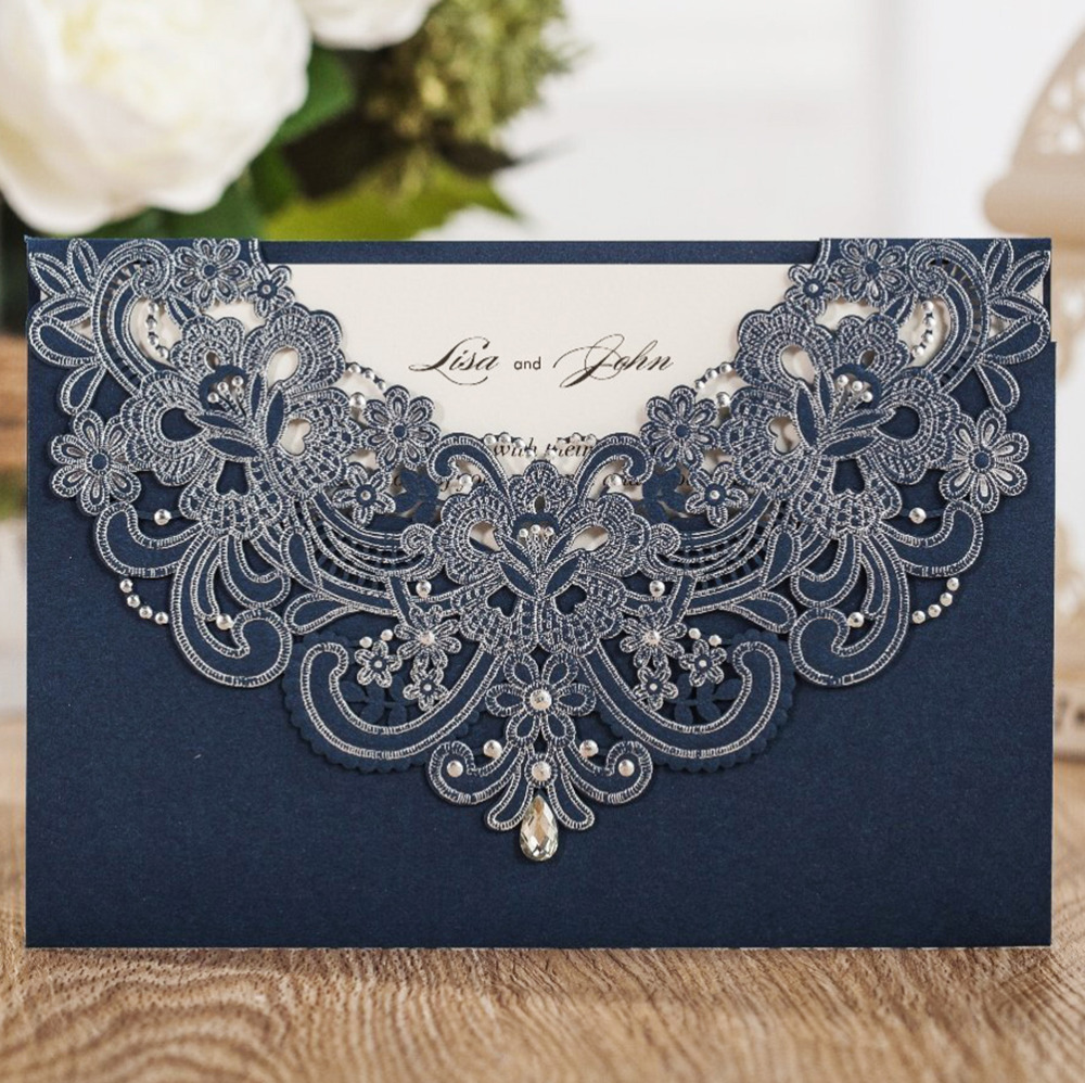 50x Personalized Printed Navy Blue Laser Cut Flora Lace invitation cards for wedding invitations Bridal Shower