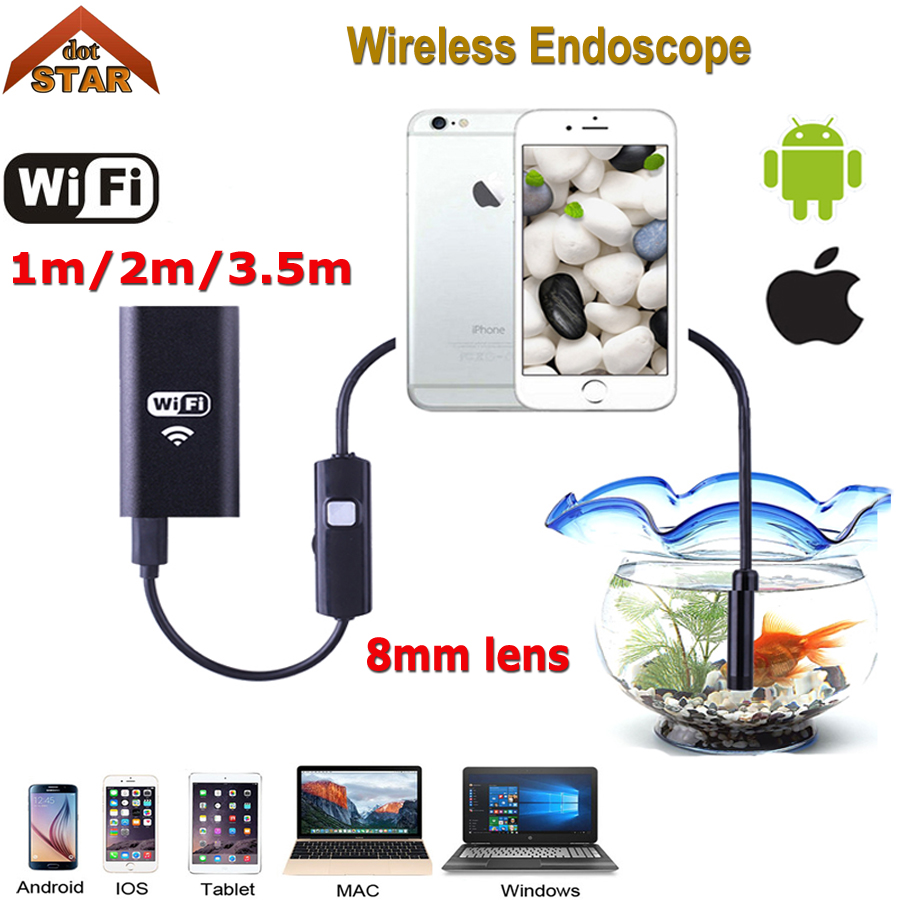 Stardot 8MM Lens Wifi Wireless Endoscope Inspection Camera Waterproof Borescope For Iphone IOS Windows Android 1m 2m 3.5m Cable industrial endoscope wifi with android and ios 720p 6 led 8mm waterproof inspection borescope tube camera with 2m cable no usb