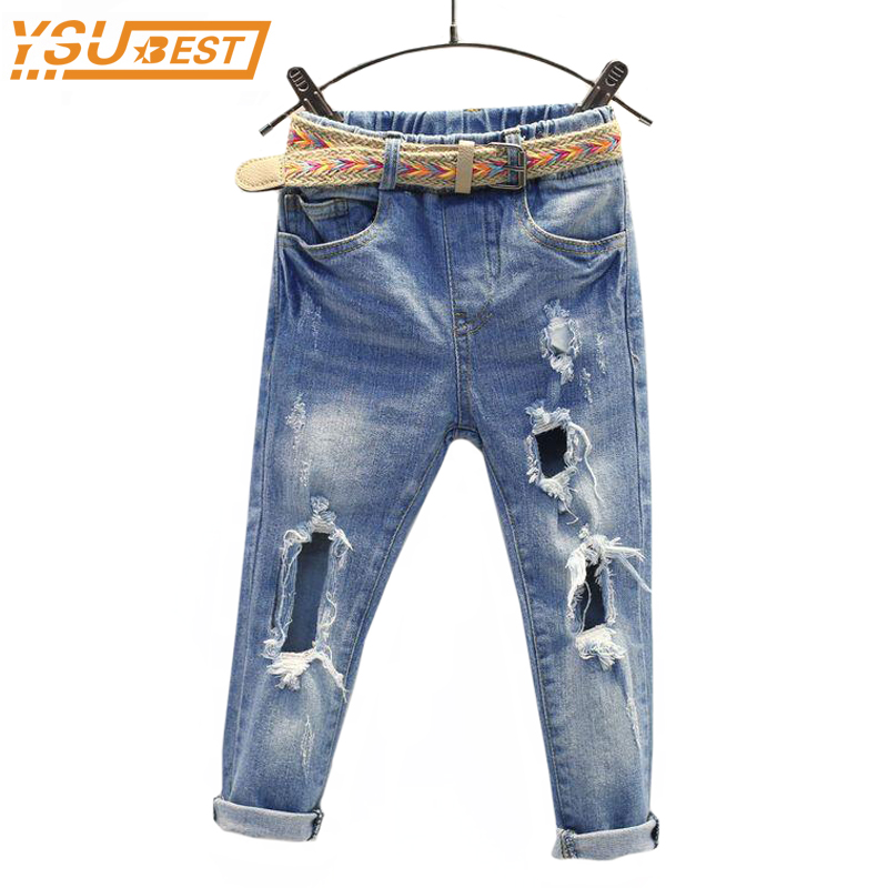 New 2017 Spring Kids Girls Hole Jeans Trousers Children Boys Ripped Jeans Kids Fashion Denim Pants Baby Casual Jean Infant Boys