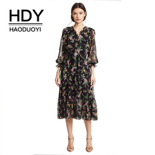HDY Haoduoyi Printed Flower High Waist with Belt Smocking Long Falbala Sleeve Midi Dress V-neck Sweet Brief Chiffon Dress все цены