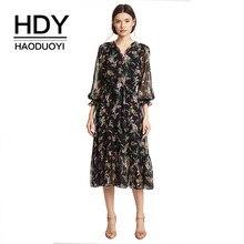 b58b04d9a15 HDY Haoduoyi flor impresa alto con Cintura con trabillas y cintura Smocking  mucho Falbala Midi de manga vestido de cuello en V d.