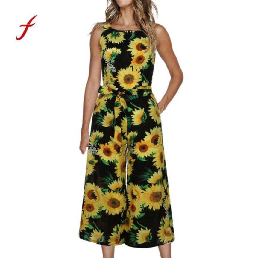 Jumpsuit women sleeveless floral print jumpsuit casual wide leg pants holiday outfits bodysuit women combinaison femme overalls