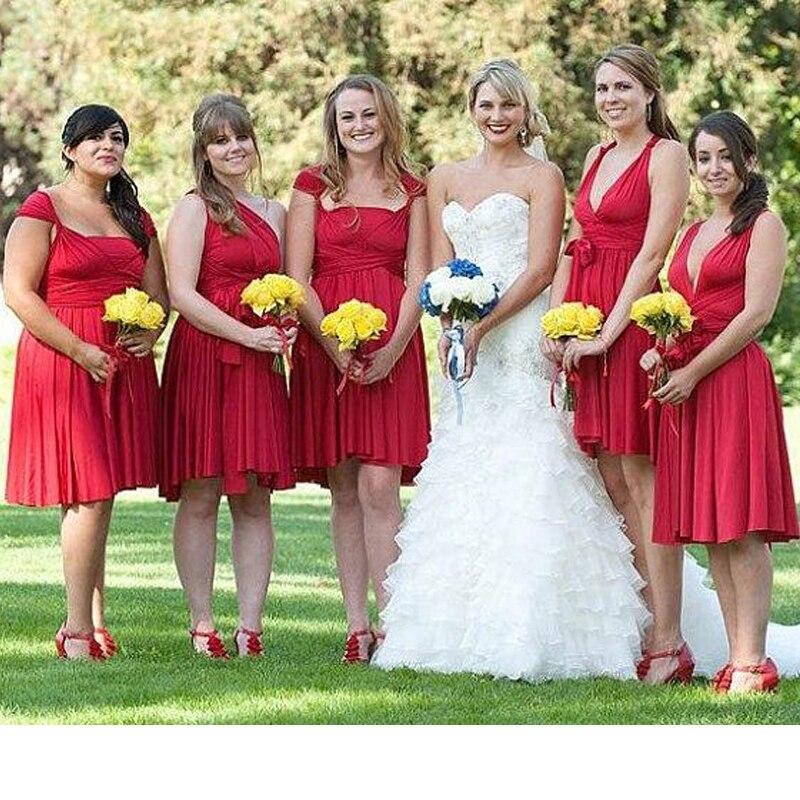 Red Bridesmaid Convertible Dress