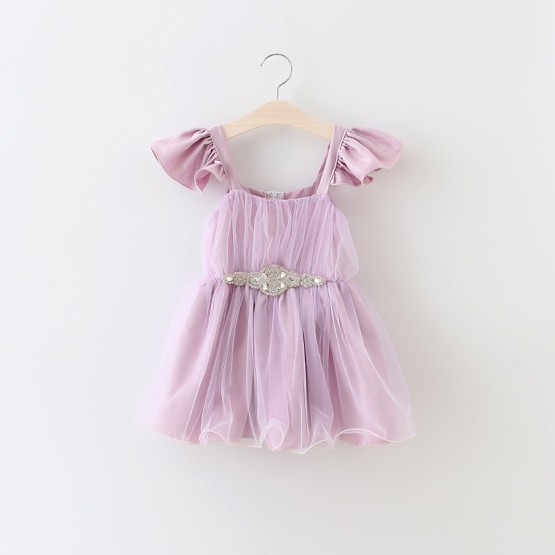 2016 Beautiful Baby Girl Tulle Dress Children Clothing Lace Tutu Beaded Purple Multilayer Mesh Dresses