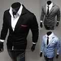 New 2017  Fashion Turn-down Collar Teather Slim Knitted Male Small Suit Jacket Male Free Shopping