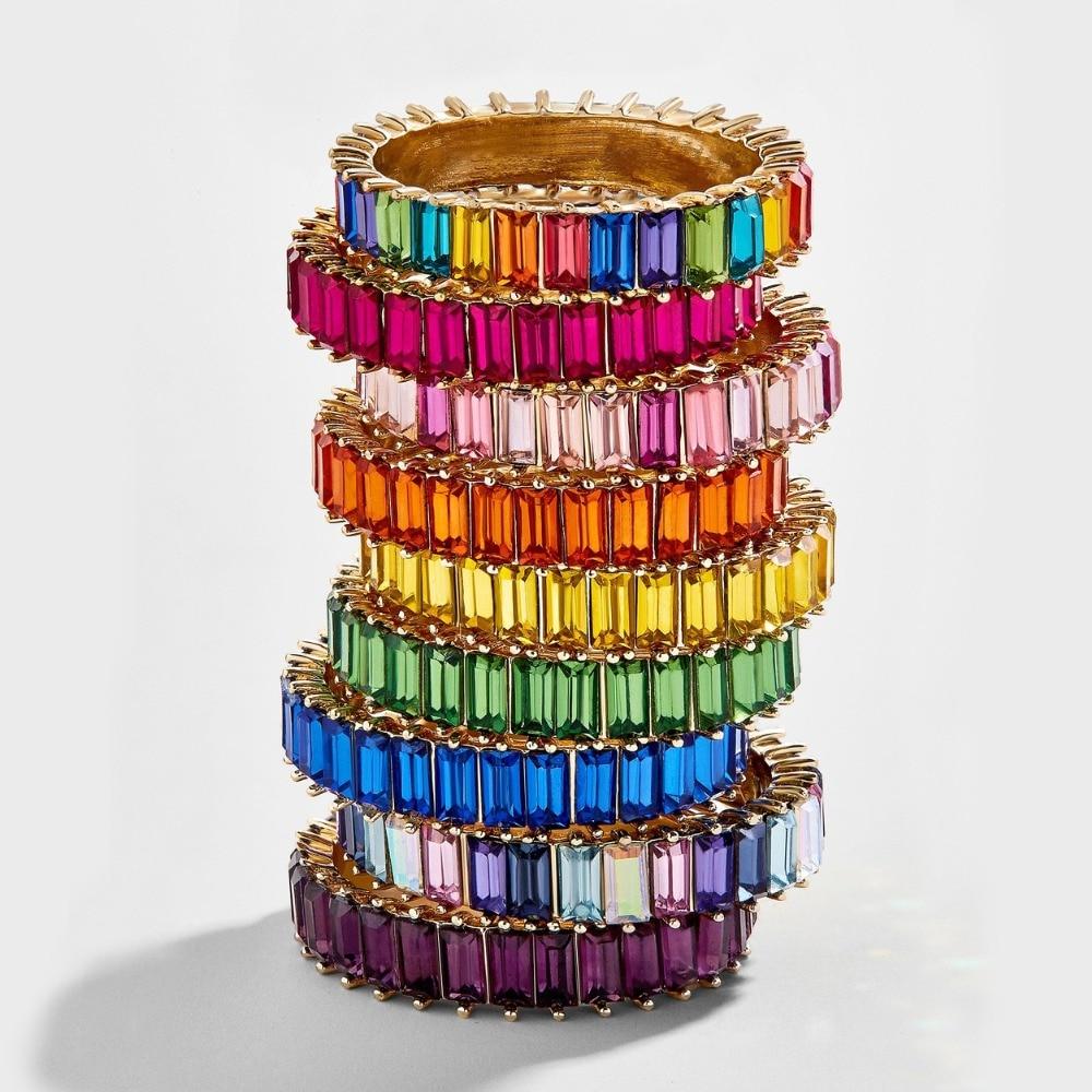 Plata de Ley 925 fina línea de anillo de oro micro pavé cz eternidad 9 colores pila 925 Plata Arco Iris cz mujeres anillos